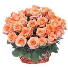 30 Orange Roses Basket